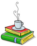 illustration of pile of books with steaming mug