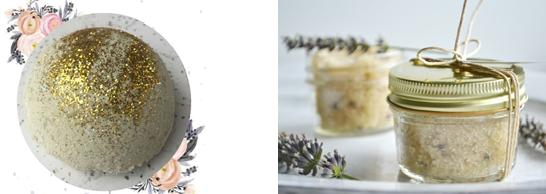 bath bomb with glitter and sugar scrubs in jars